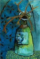 Bottle w:antlers